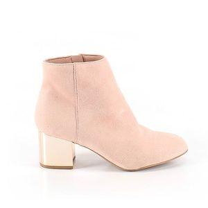 ALDO Pink Ankle Booties Platinum Block Heel Size 7